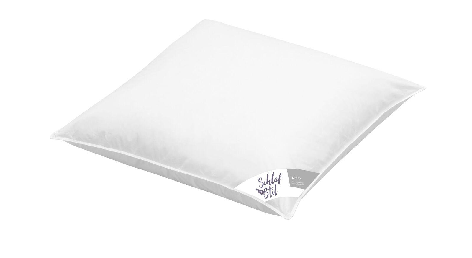 SCHLAFSTIL Markenfaser-Kissen F200 in 80x80 cm mit ungestepptem Bezug