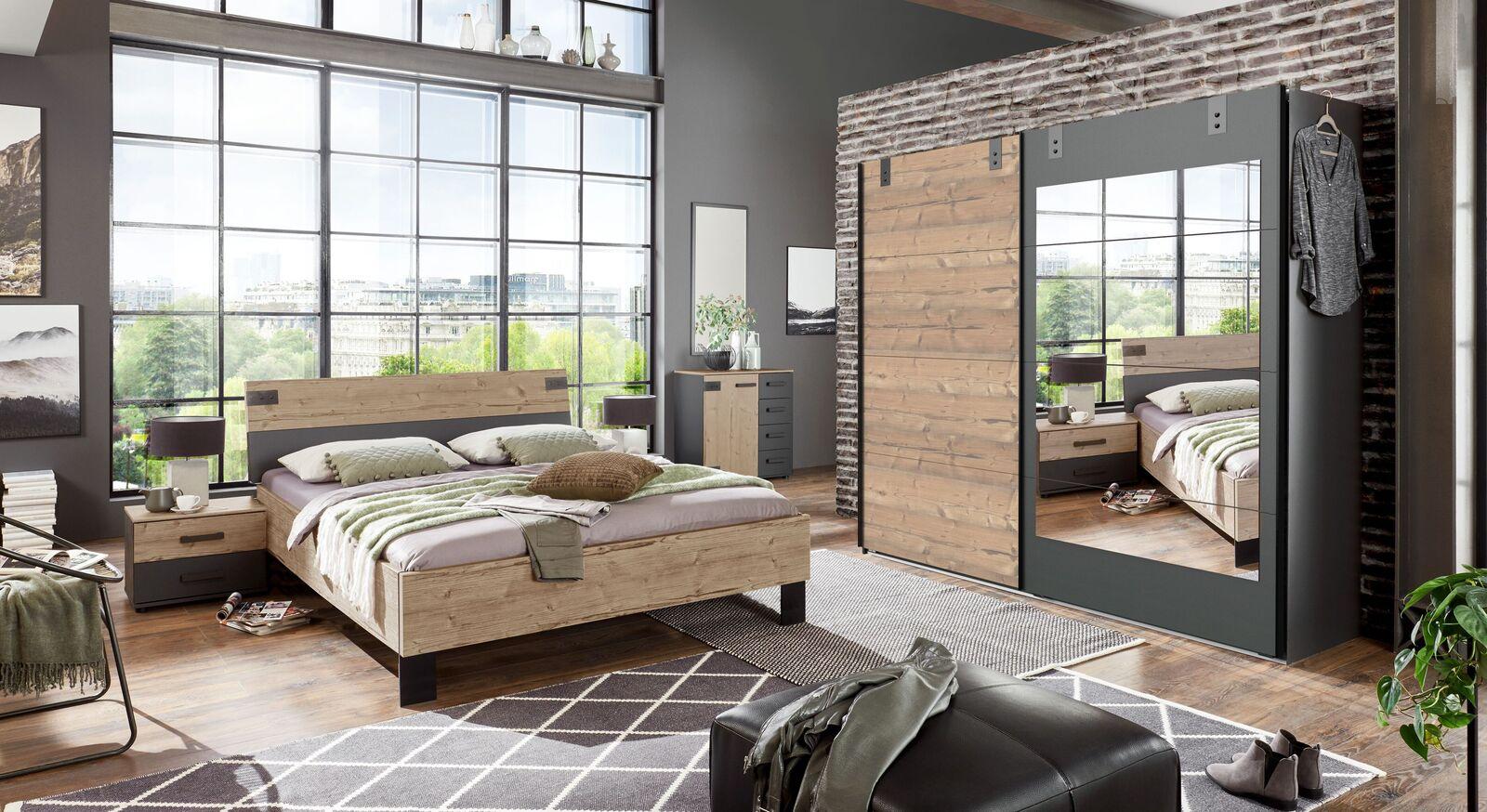 Schlafzimmer Midori mit Spiegel-Schwebetüren-Kleiderschrank