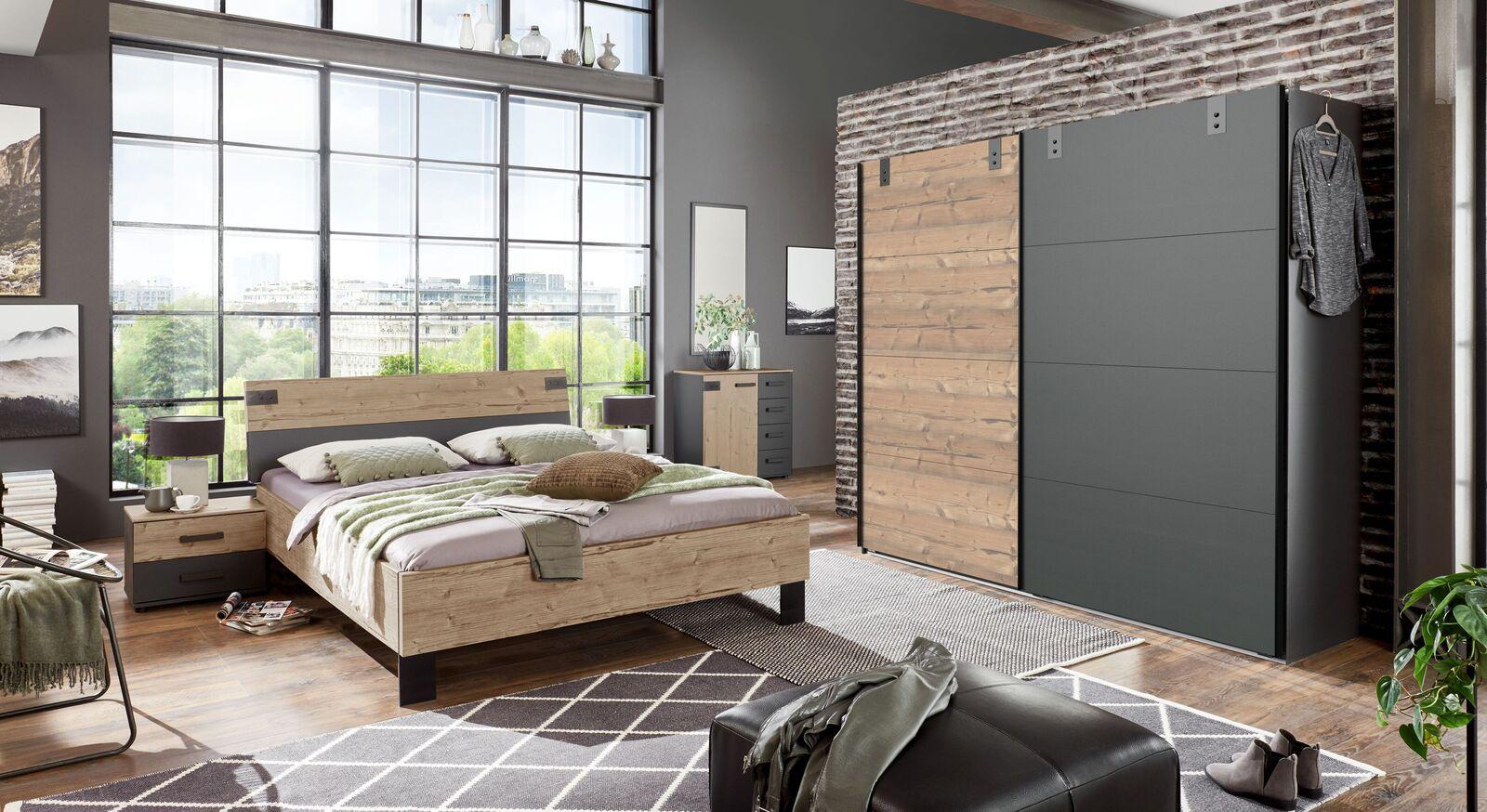 Schlafzimmer Midori mit Schwebetüren-Kleiderschrank