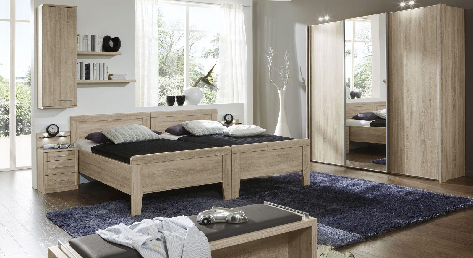 Schlafzimmer Palmira mit Möbeln in Eiche sägerau Dekor