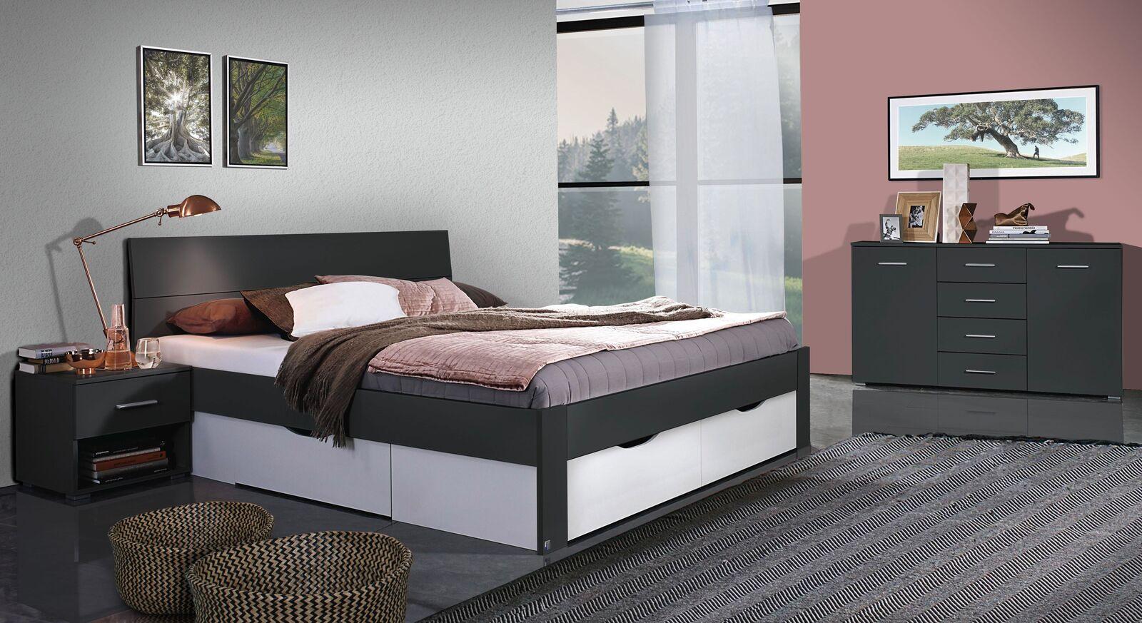 Schlafzimmer Zaida in Grau mit eingebauten Schubkasten