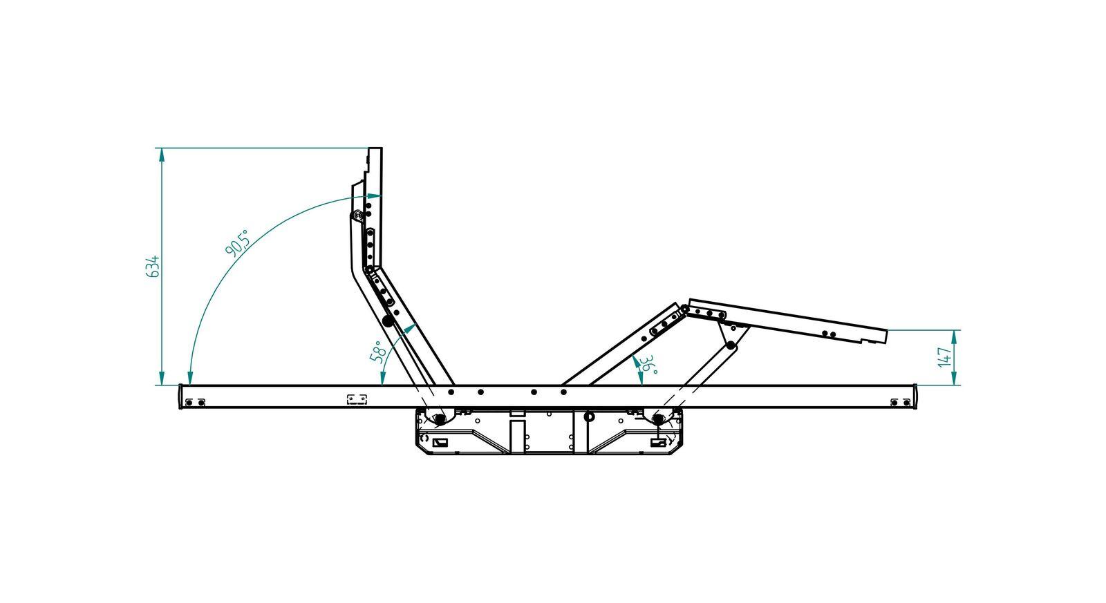 Verstellungsgrafik zum Schlaraffia Elektro-Lattenrost Classic 28 M