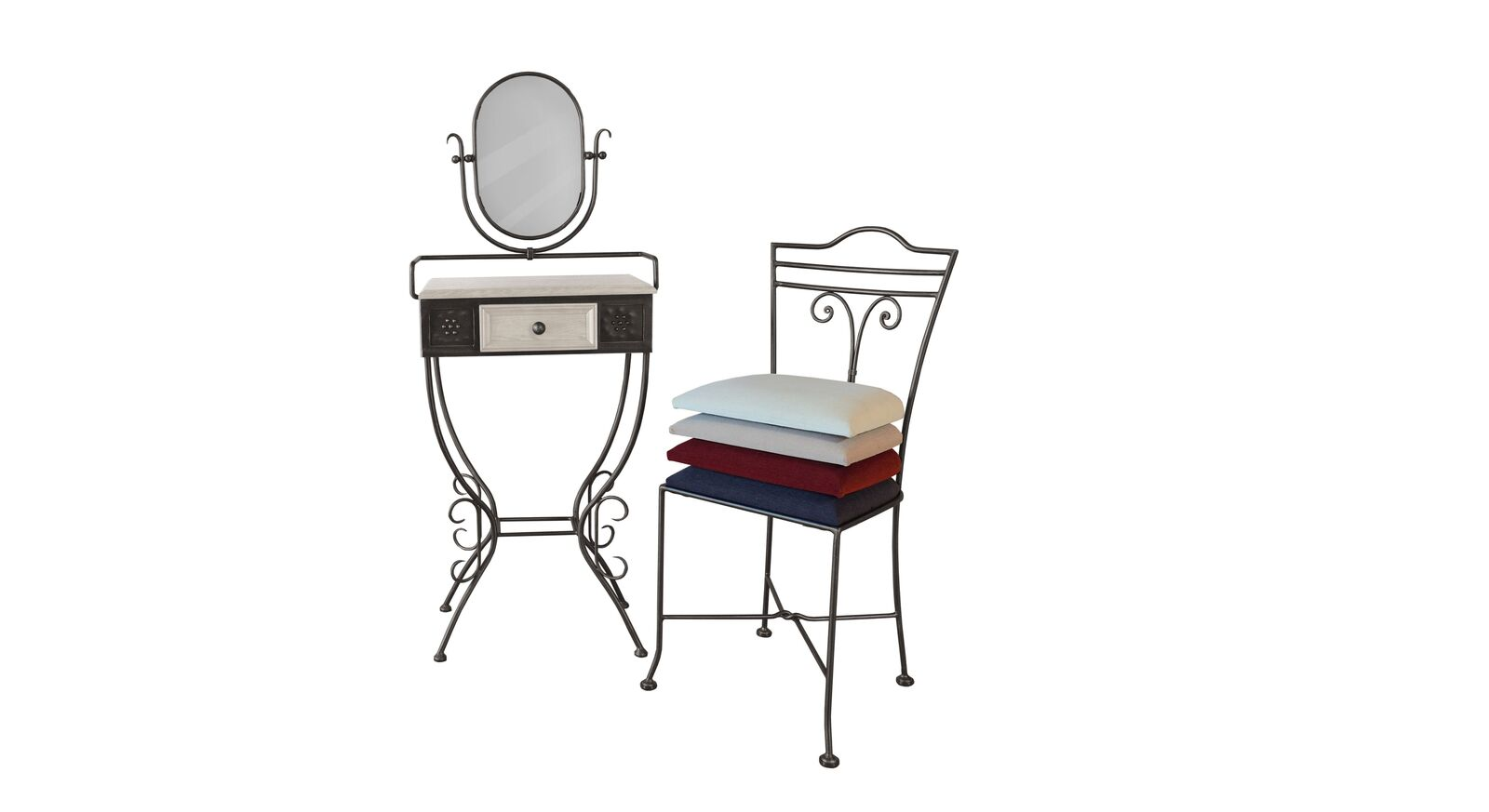 Schminktisch und Stuhl Loria aus anthrazitfarbenem Metall