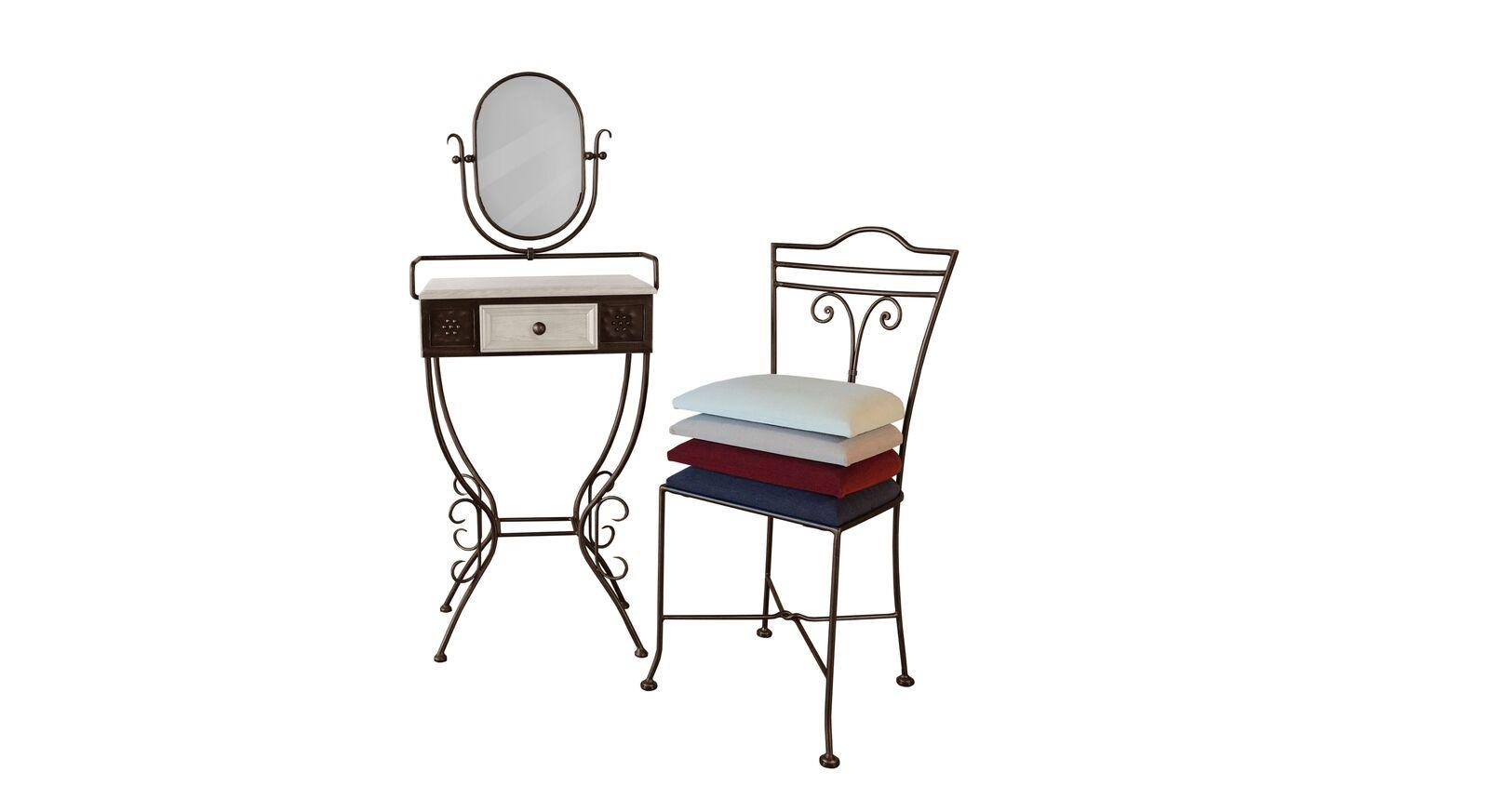 Schminktisch und Stuhl Loria aus braun-goldenem Metall