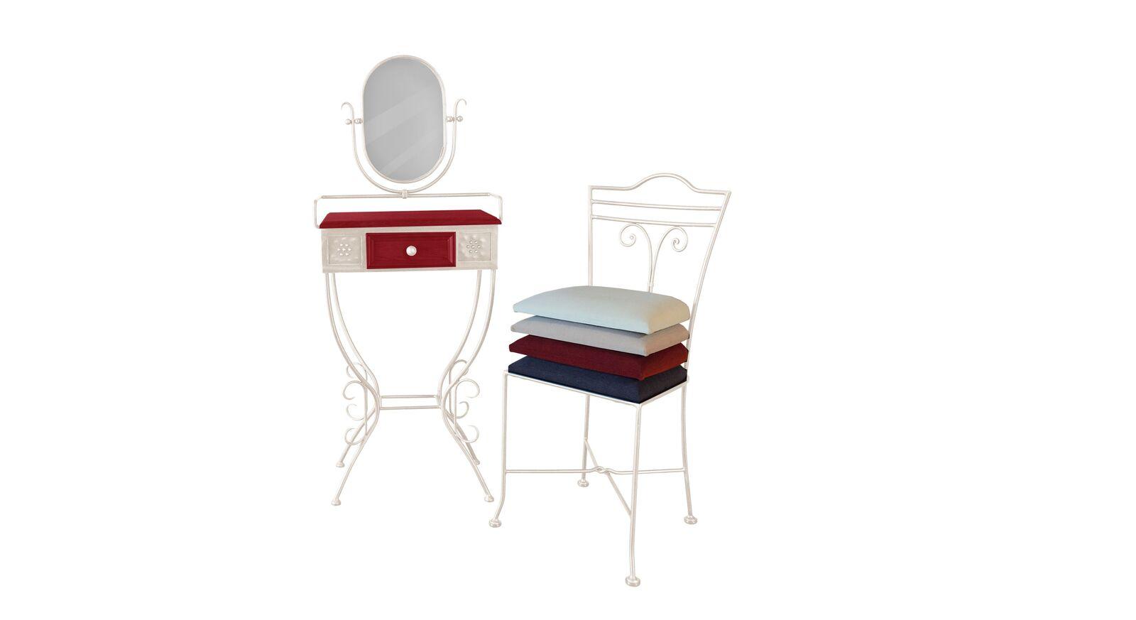 Schminktisch und Stuhl Loria aus cremefarbenem Metall und rotem Holz