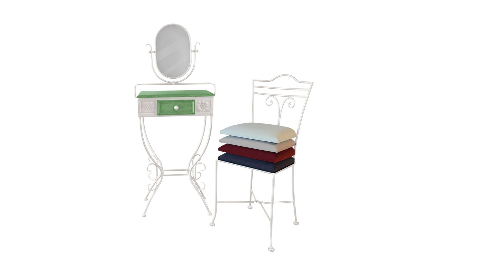Schminktisch und Stuhl Loria aus weißem Metall und grünem Holz