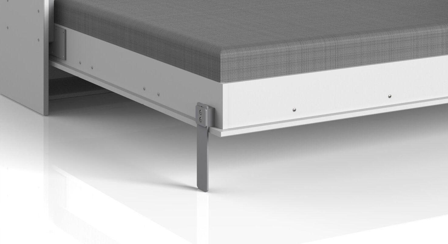 Schrankbett Tampico mit aluminiumfarbenen Metallfüßen