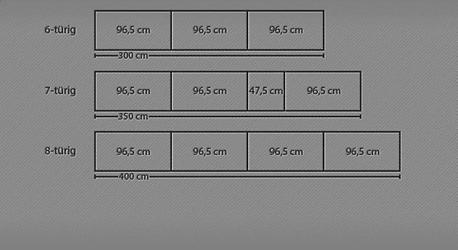 Einteilung der Schrankmodule des Drehtüren-Kleiderschranks Temara
