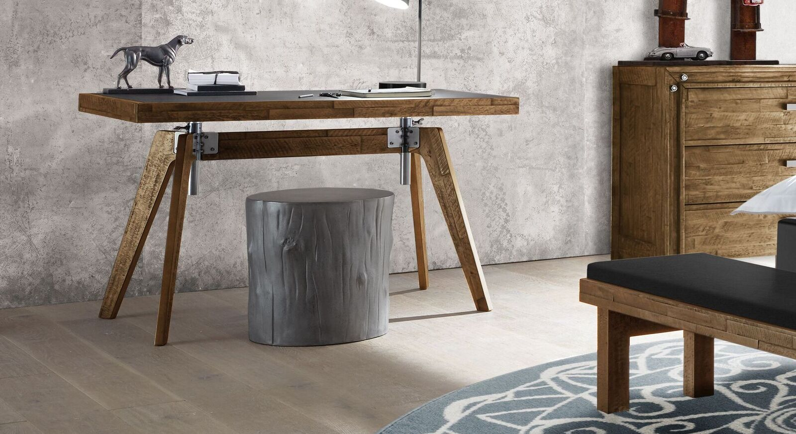Stufenlos höhenverstellbarer Schreibtisch Banvano fürs Jugendzimmer