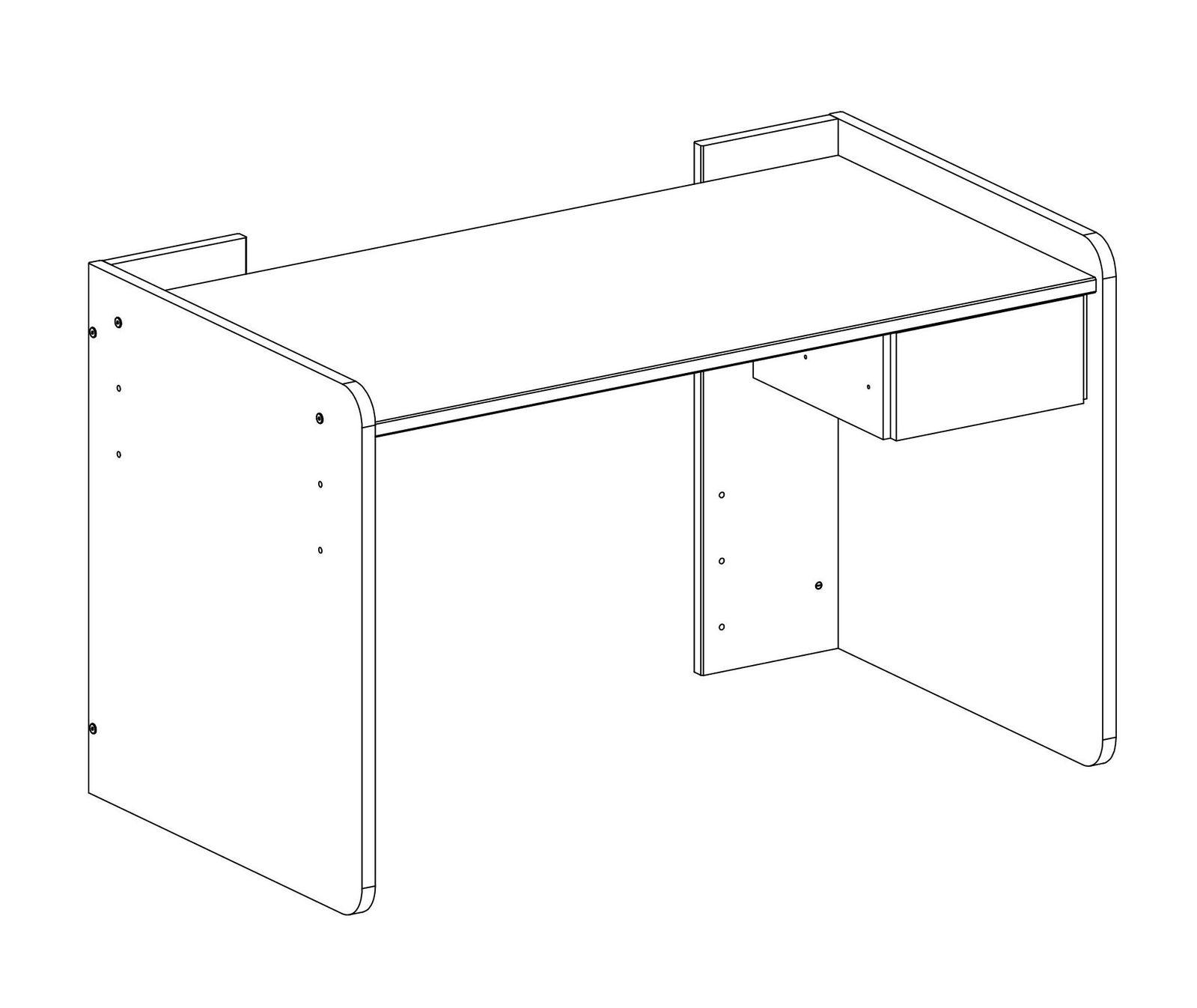 wei er schreibtisch 3 fach h henverstellbar mit schublade. Black Bedroom Furniture Sets. Home Design Ideas