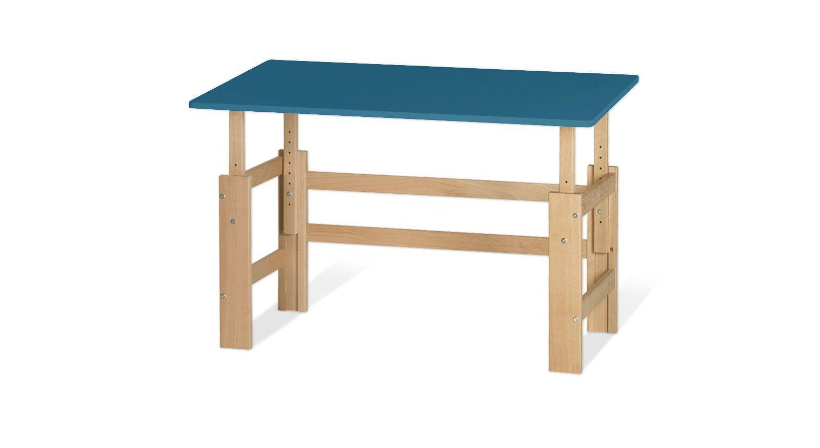 Höhenverstellbarer Schreibtisch Kids Town in Buche und MDF aqua
