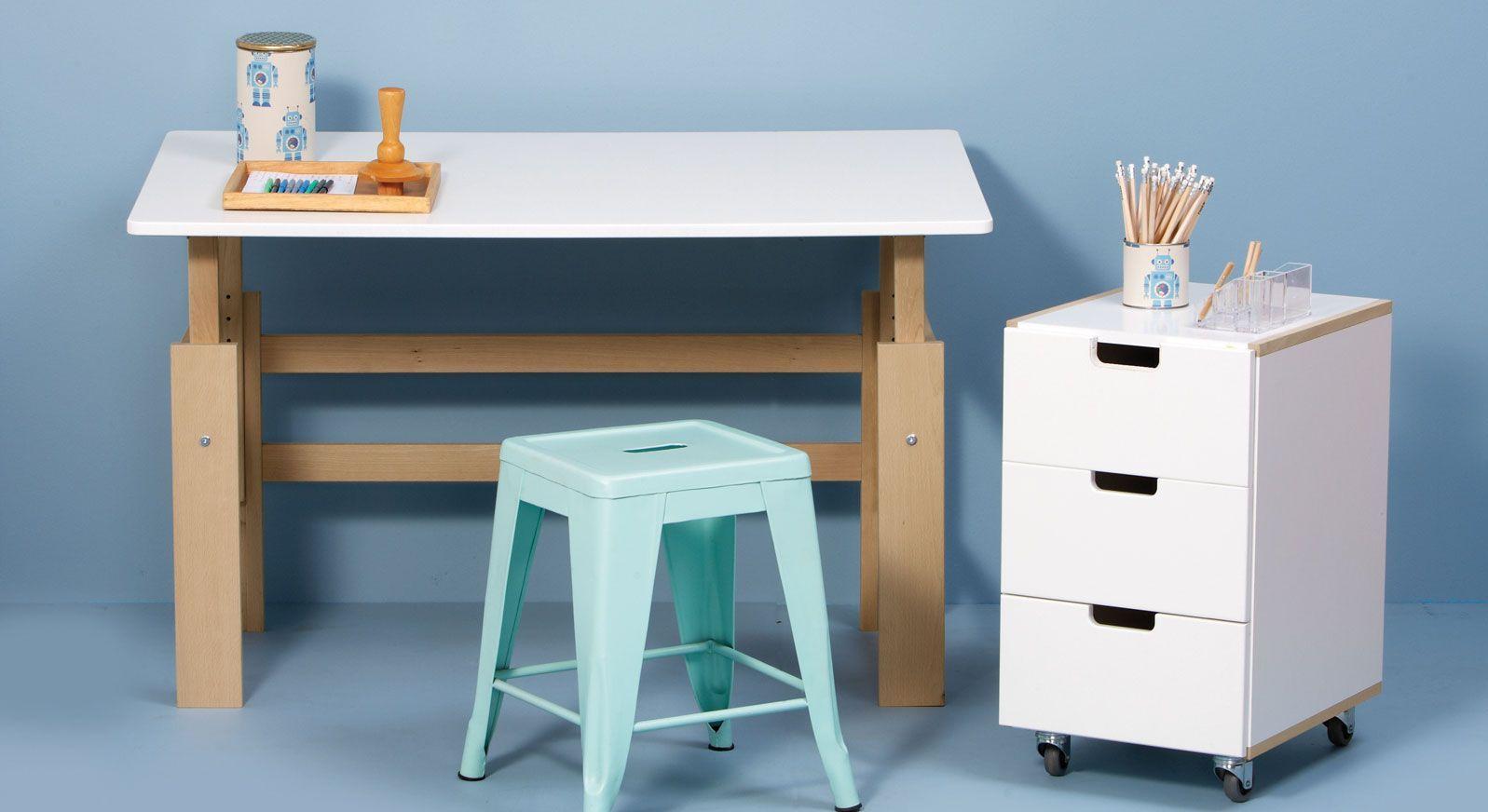 Höhenverstellbarer Schreibtisch Kids Town in Buche natur und MDF weiß