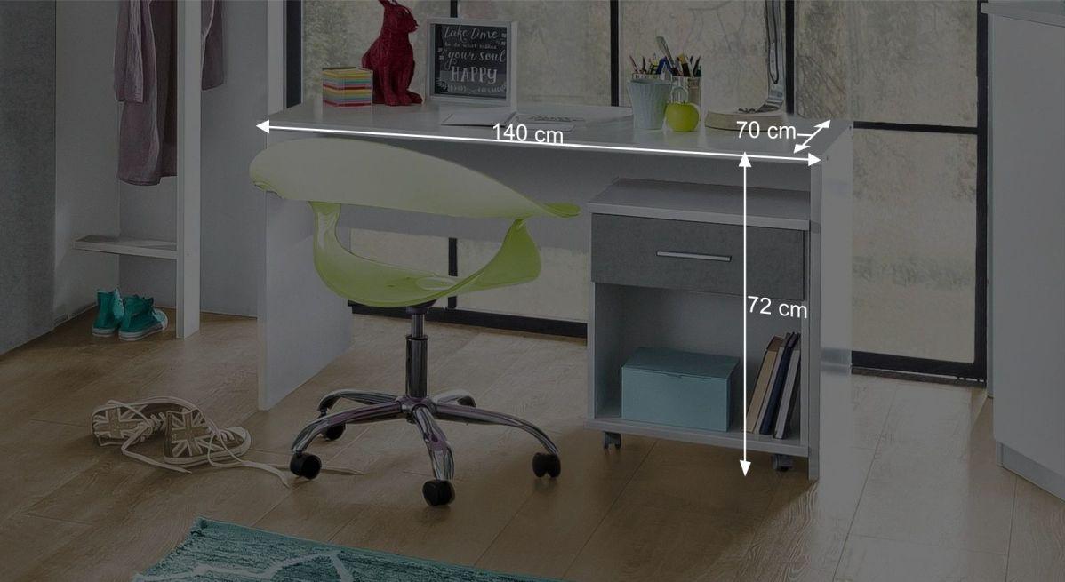 Schreibtisch Porvenirs Bemaßungsgrafik