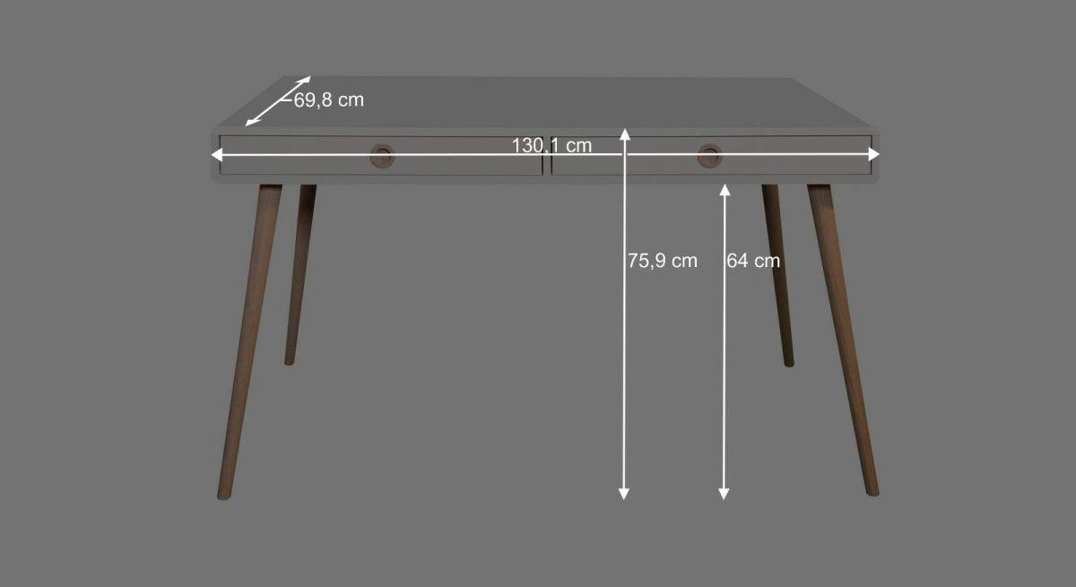Bemaßungsgrafik zum Schreibtisch Zuria groß