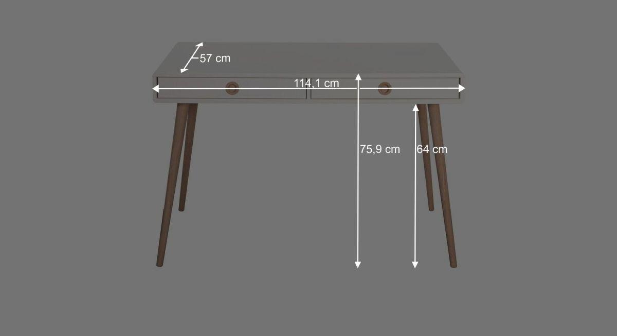 Bemaßungsgrafik zum Schreibtisch Zuria klein
