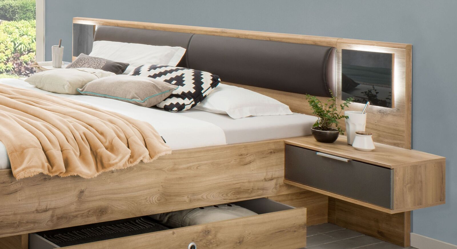 Schubkasten-Bett Alwaras Kopfteil mit integriertem Polster