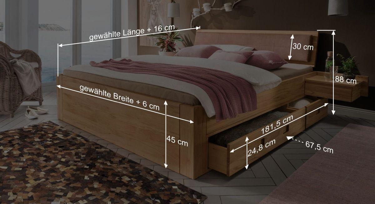 Bemaßungsgrafik zum Schubkasten-Bett Aurach