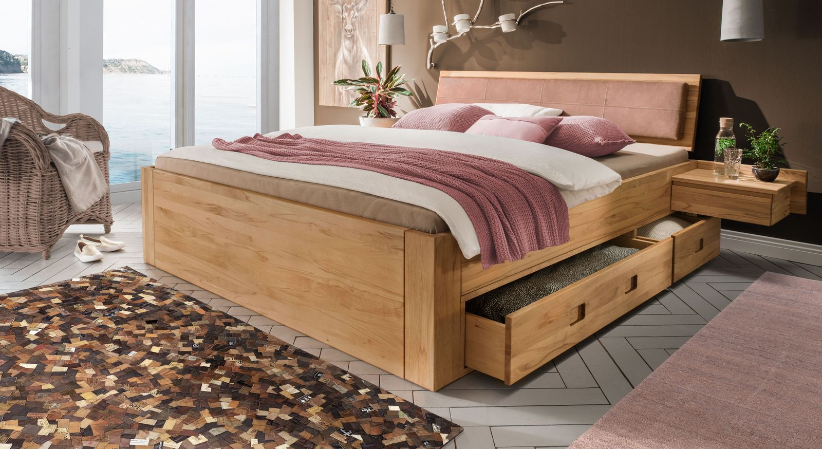 Schubkasten-Bett Aurach inklusive Holzkopfteil mit Polster