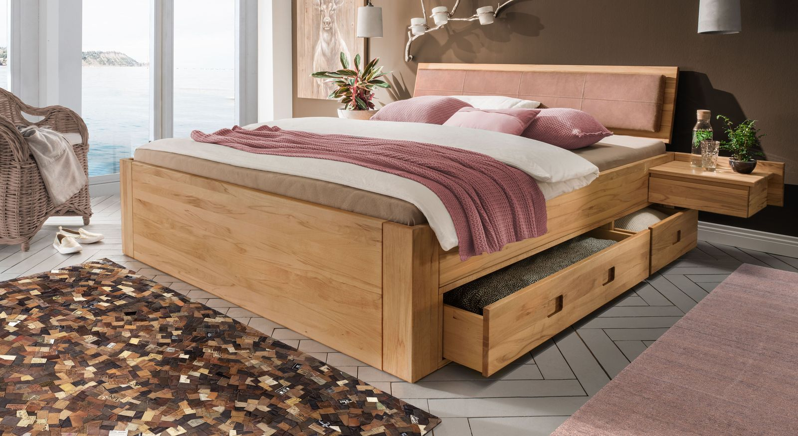 Schubkasten-Bett Aurach aus massivem Echtholz