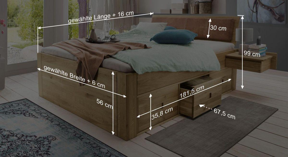 Bemaßungsgrafik zum Schubkasten-Bett Blumau