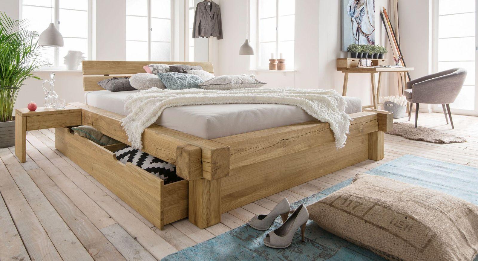 Schubkasten-Bett Doba mit Steckrahmen aus Wildeiche natur