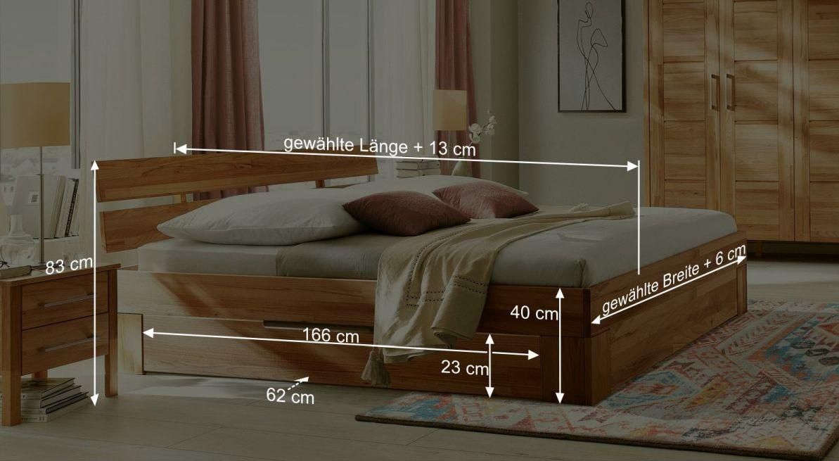 Bemaßungsgrafik zum Schubkasten Bett Halvar