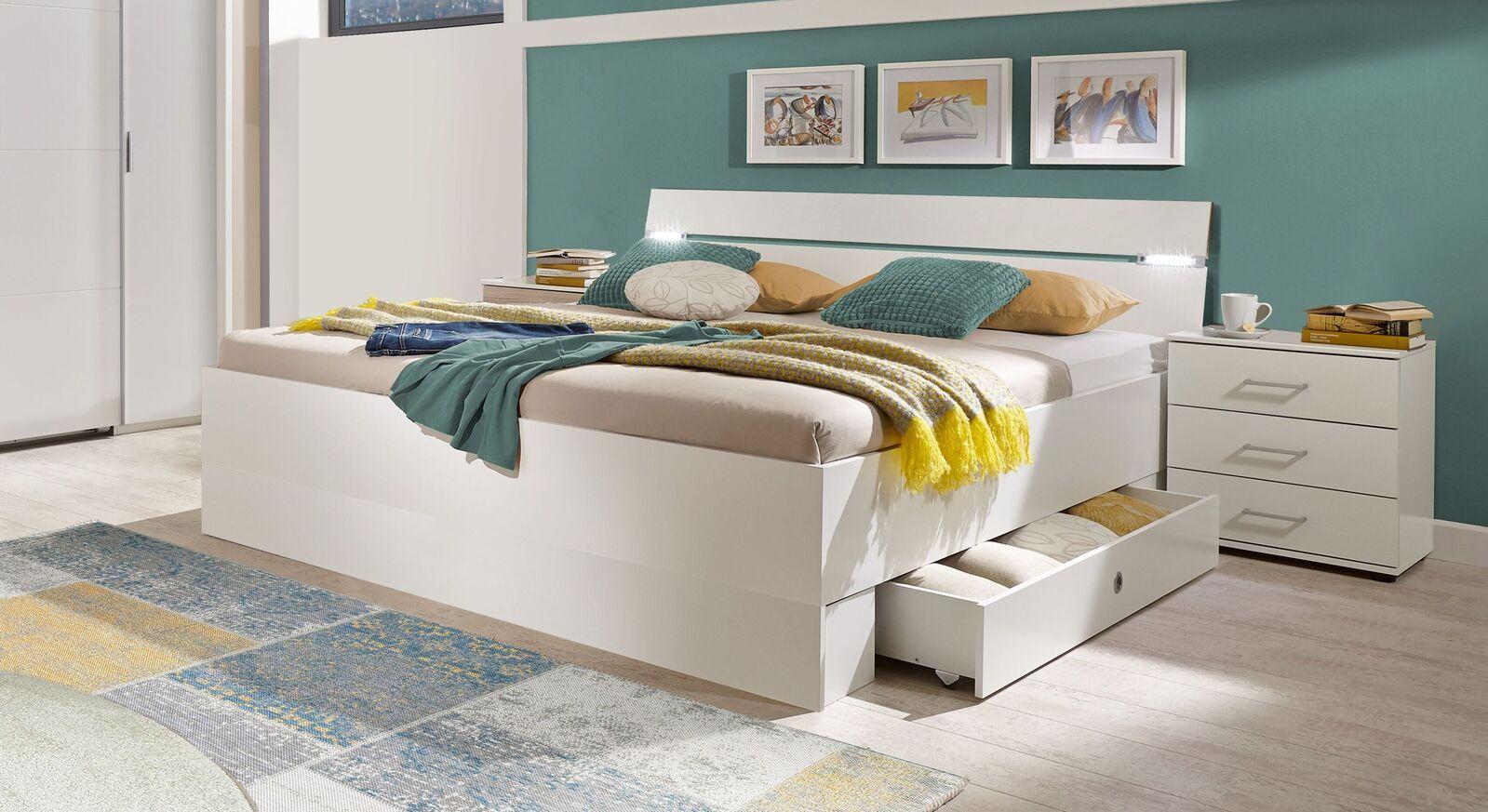 Schubkasten-Bett Kiraly in alpinweißem Dekor