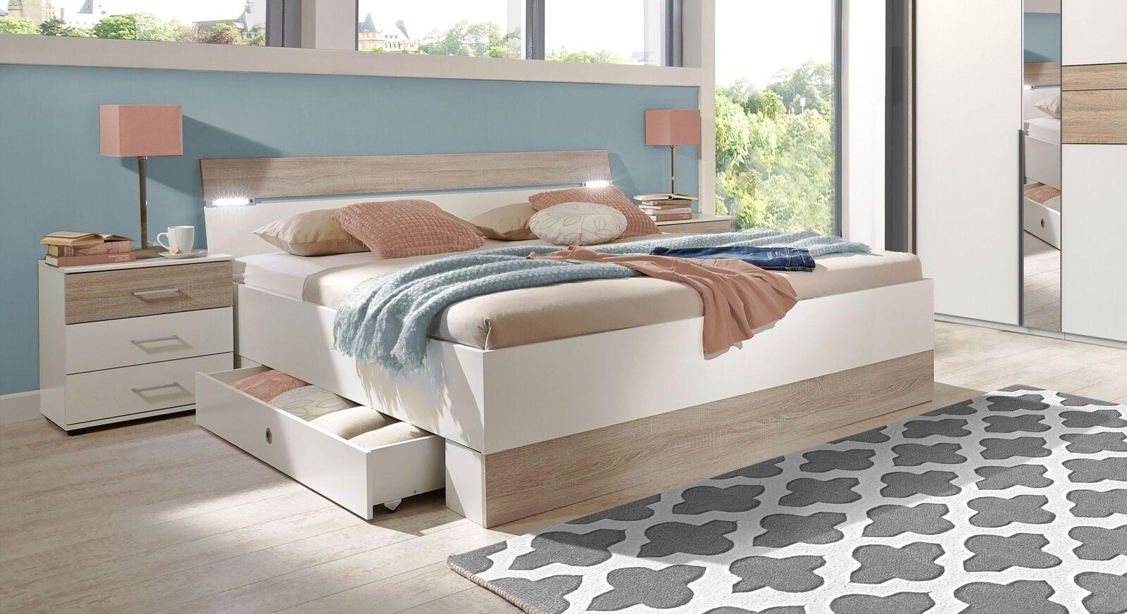 Schubkasten-Bett Kormoran in Alpinweiß und Eiche sägerau Dekor
