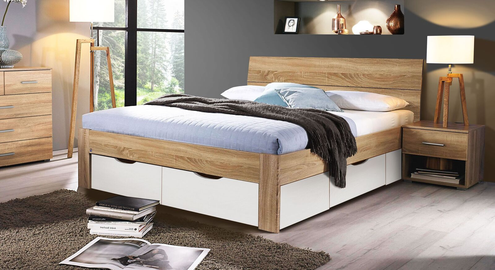 Schubkastenbett Oliana mit integriertem Stauraum