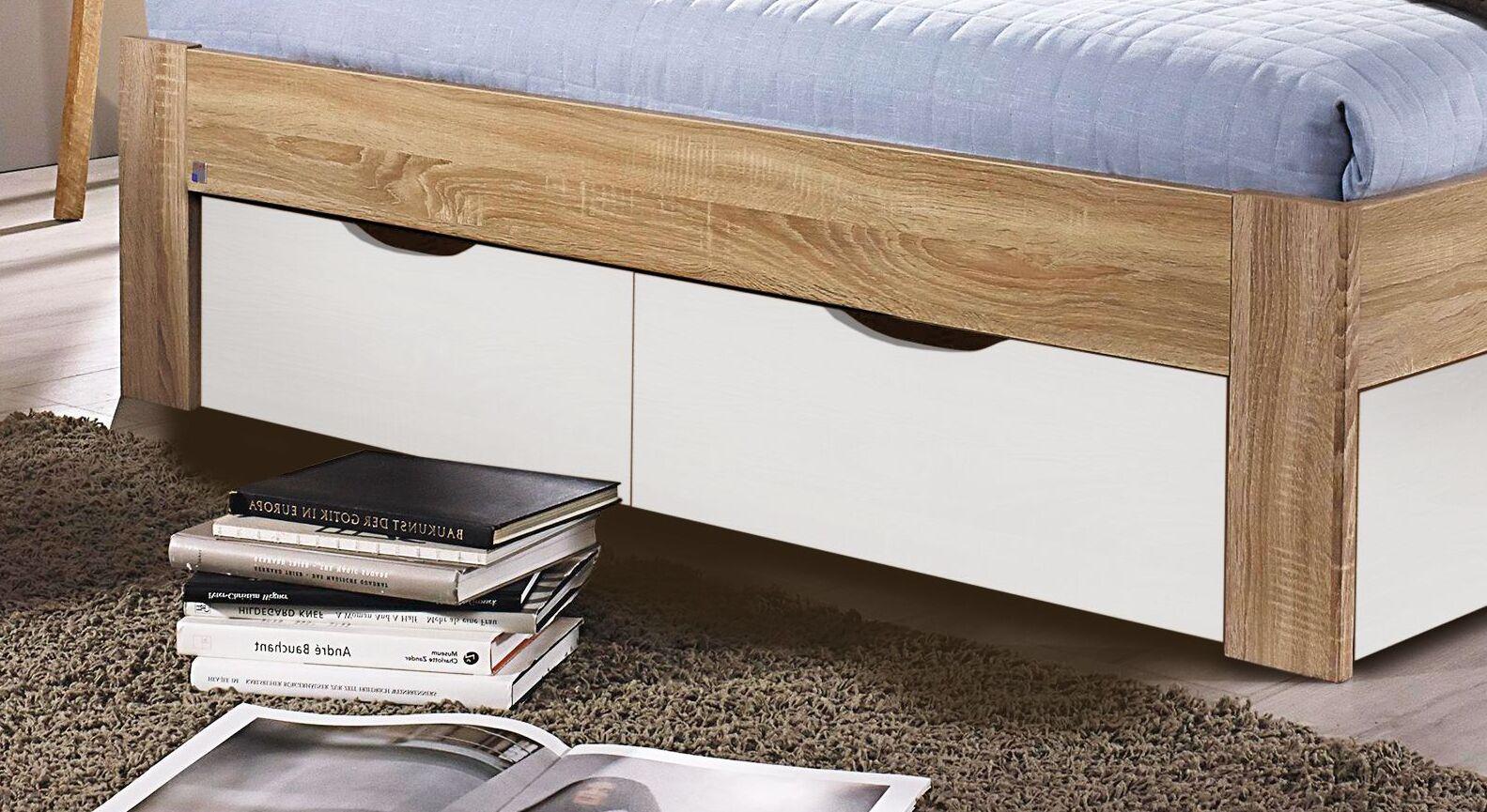Schubkastenbett Oliana mit weißen Schubladen