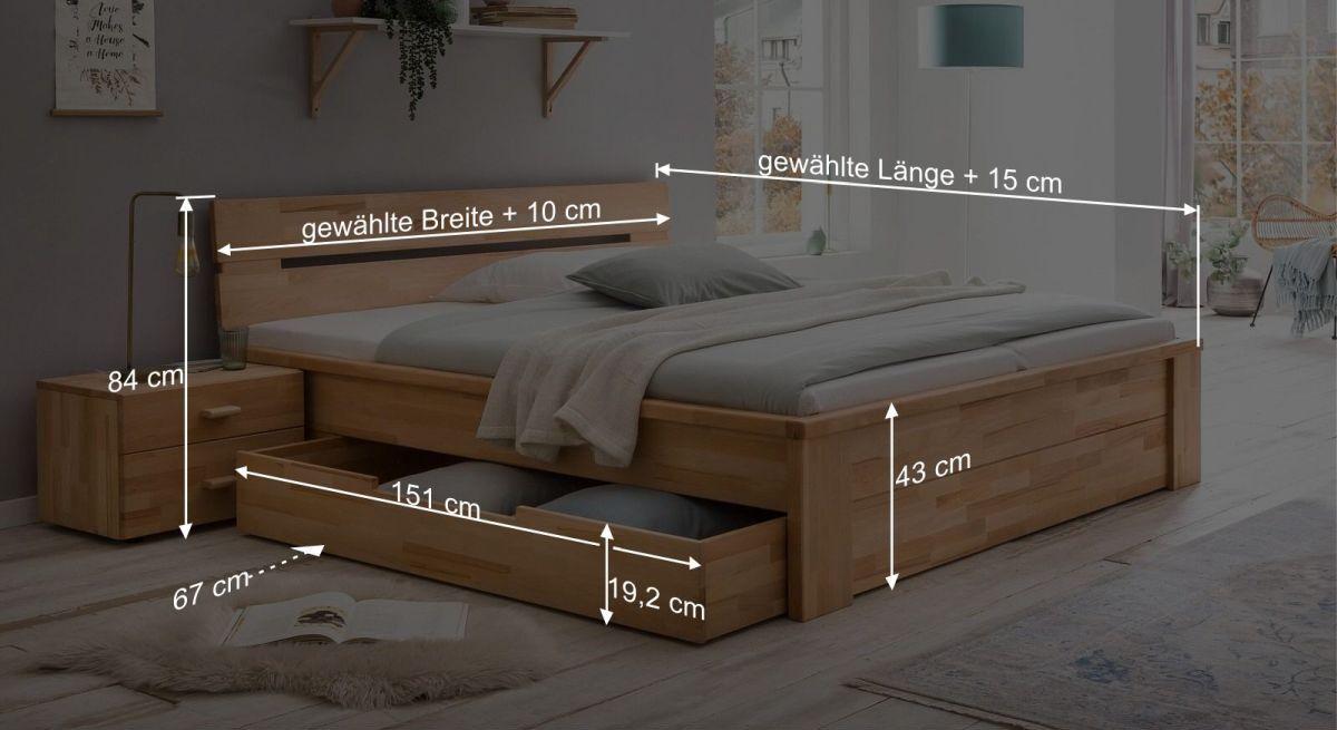 Bemaßungs-Grafik zum Schubkasten-Bett Tamira