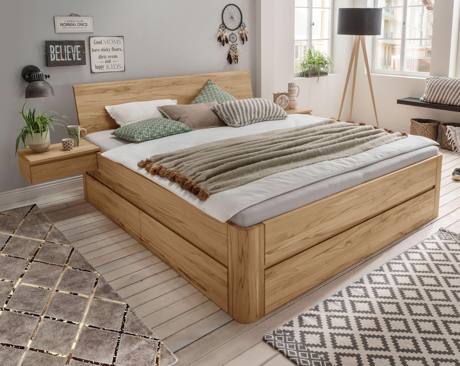 bio vollholzbett kernbuche mit schubk sten thurgau. Black Bedroom Furniture Sets. Home Design Ideas