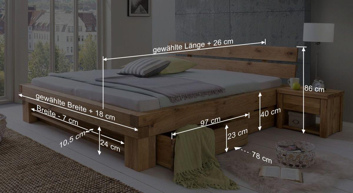 Bemaßungsgrafik vom Schubkasten-Bett Tomba