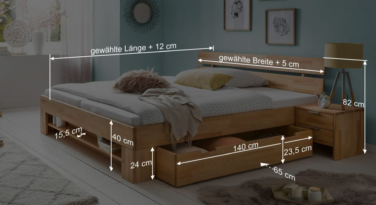 Bemaßungs-Grafik zum Schubkasten-Bett Valisia