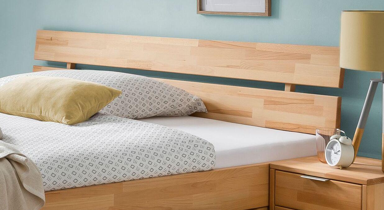 Schubkasten-Bett Valisia mit Massivholz-Kopfteil
