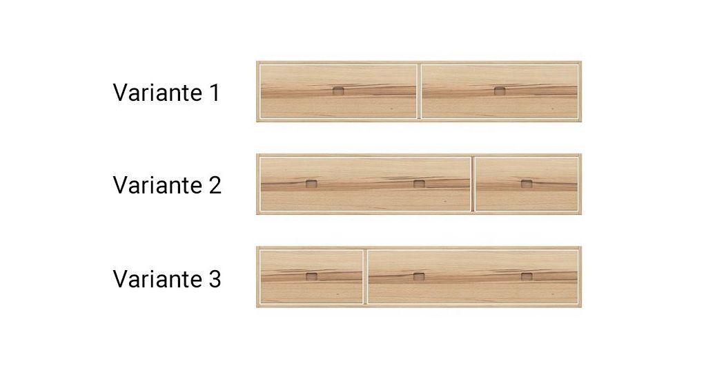 Übersicht der Schubkasten-Variationen für Wildeiche-Betten