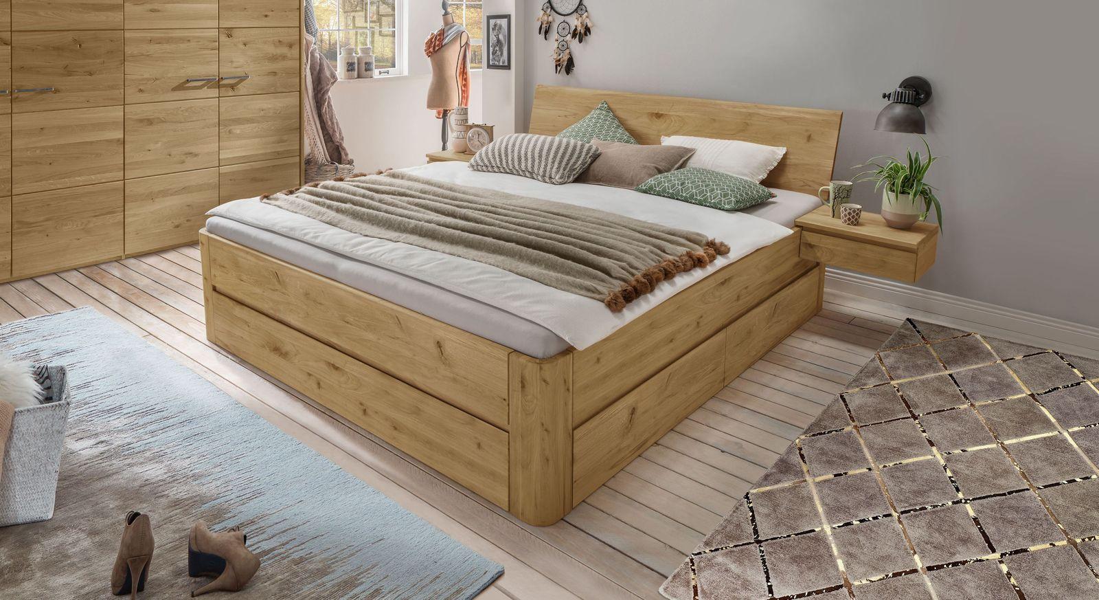 Praktisches Funktions-Bett Wila metallfrei mit Schubkasten aus Echtholz