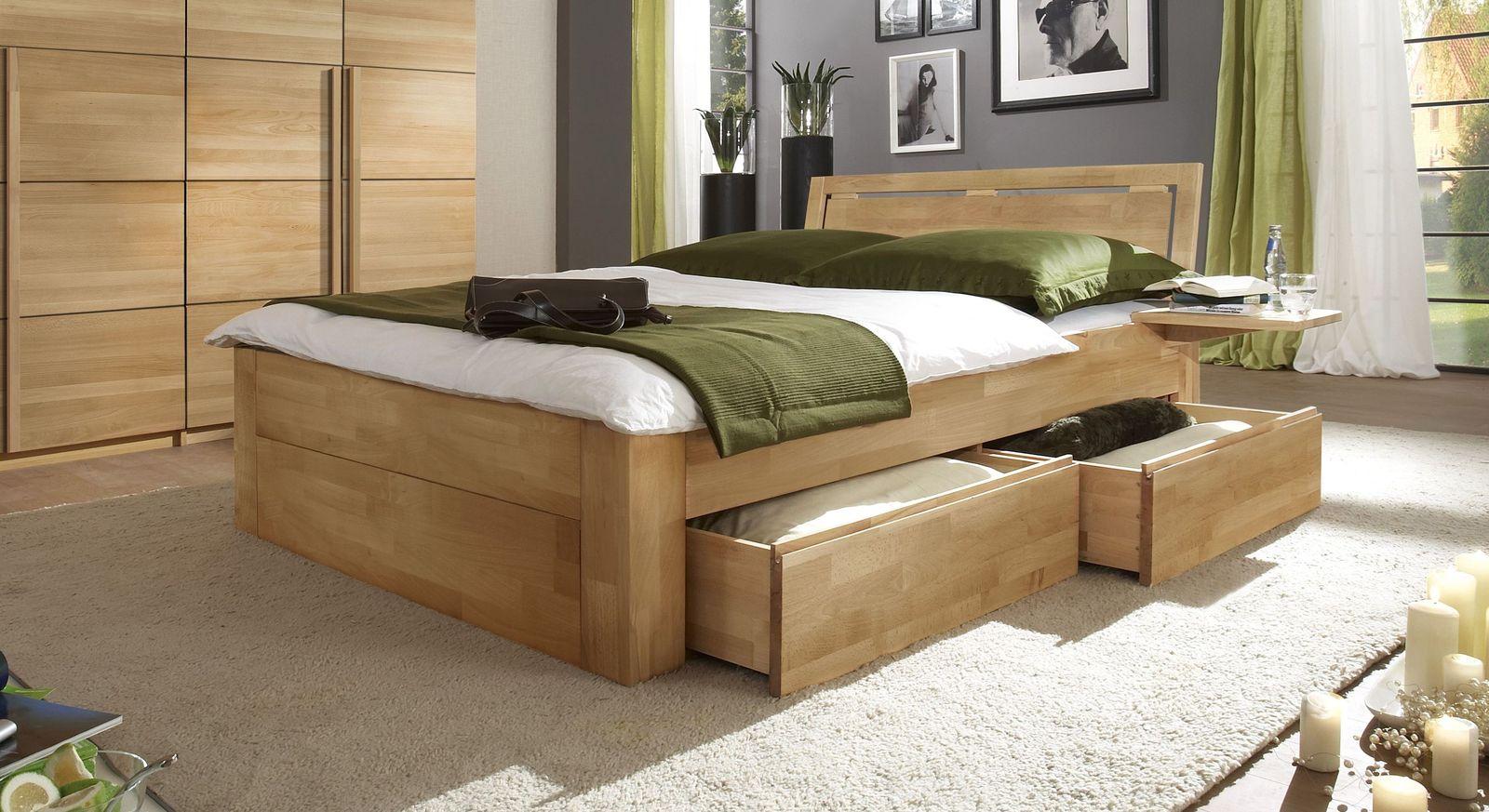 Schubkasten-Doppelbett Andalucia aus massivem Buchenholz