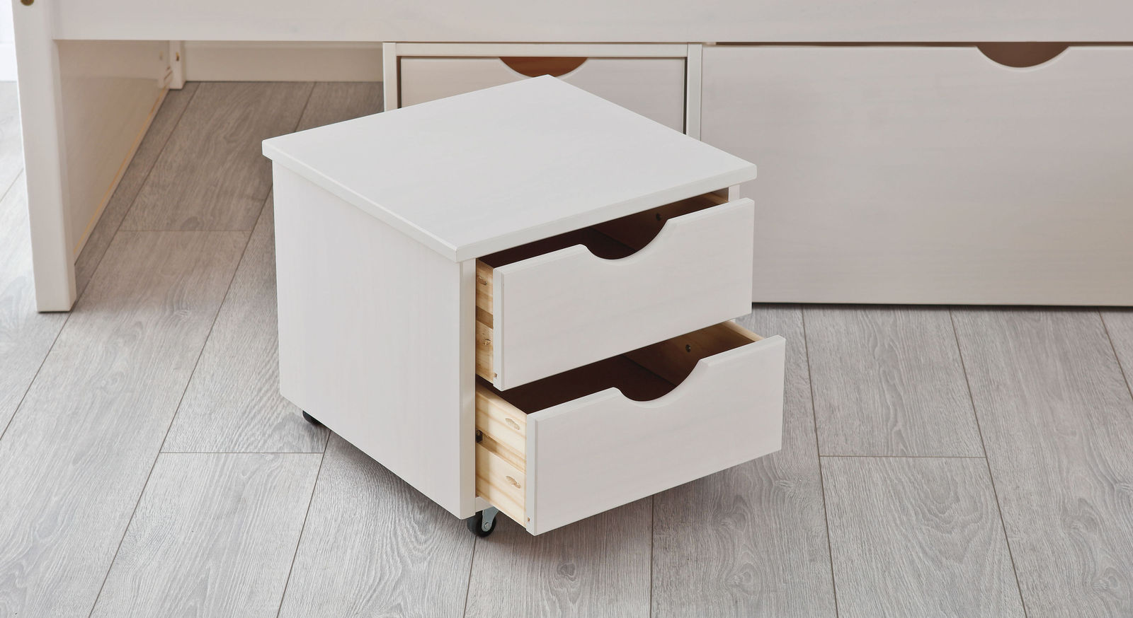 Schubkasten-Doppelbett Göteborg mit rollbarem Nachttisch