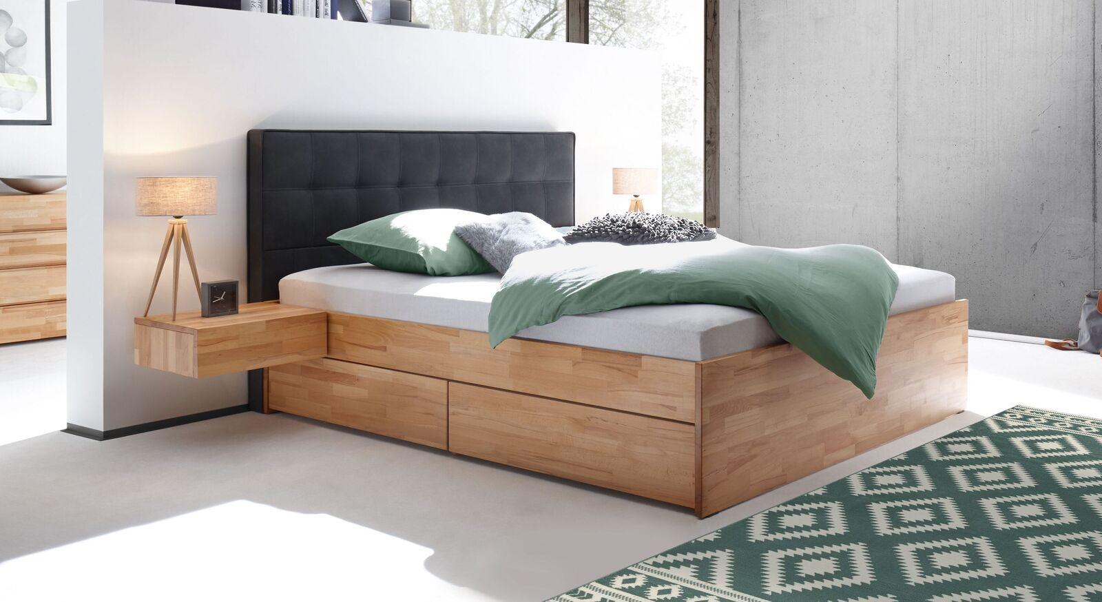 Schubkasten-Doppelbett Mirenda mit gestepptem Polster-Kopfteil
