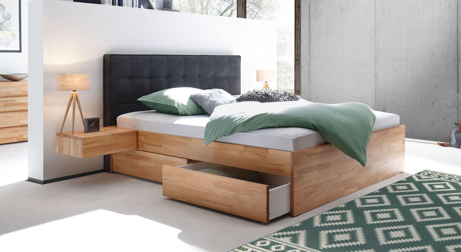 Schubkasten-Doppelbett Mirenga aus massivem Kernbuchenholz