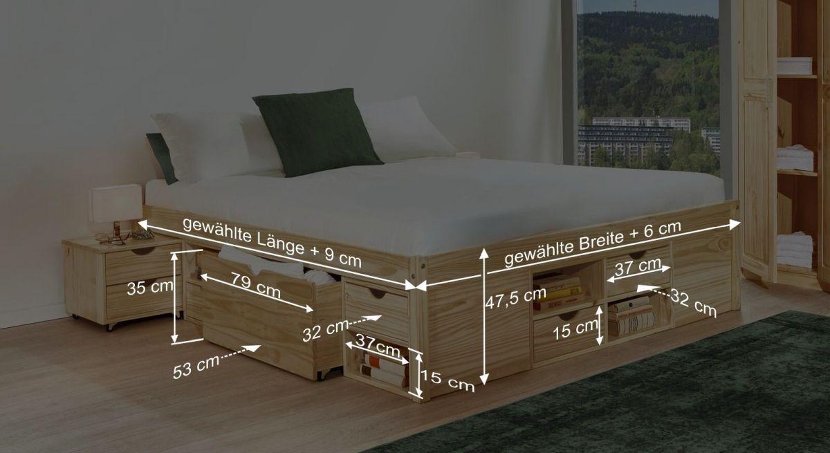 Bemaßungsgrafik zum Schubkasten Doppelbett Oslo