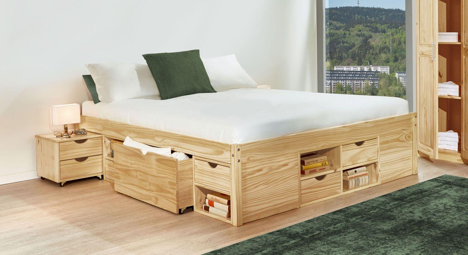 Schubkasten-Doppelbett Oslo mit Fächern und Schubladen