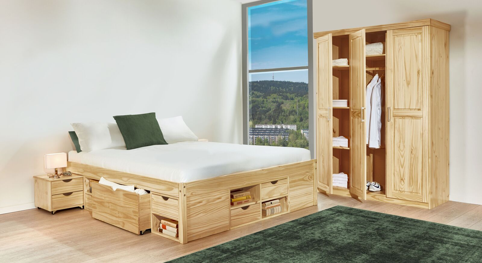 g nstiges komplett schlafzimmer aus kiefer oslo. Black Bedroom Furniture Sets. Home Design Ideas
