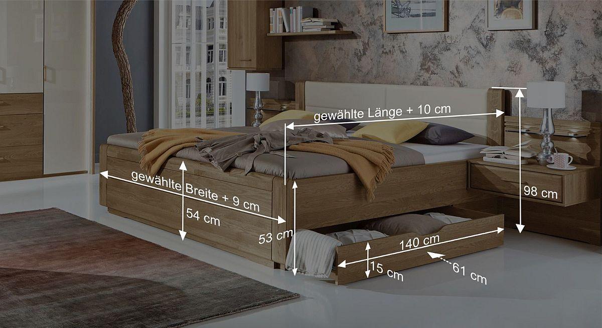 Bemaßungs-Skizze des Schubkasten-Doppelbettes Toride