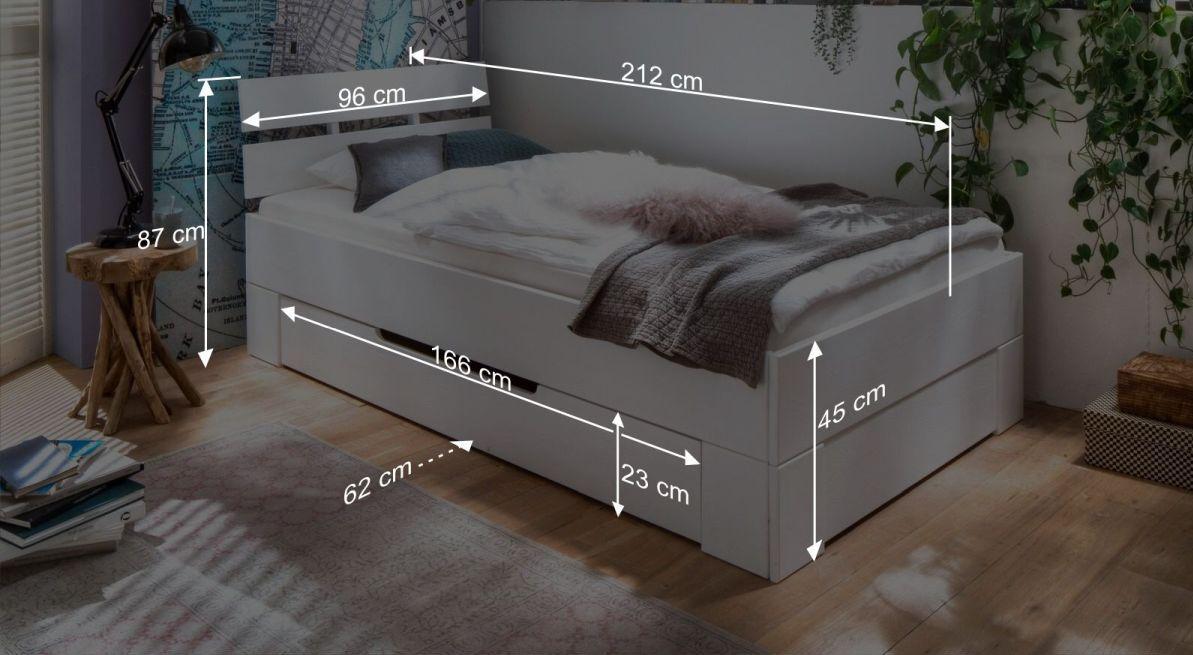 Bemaßungsgrafik zum Schubkasen Einzelbett Ottena
