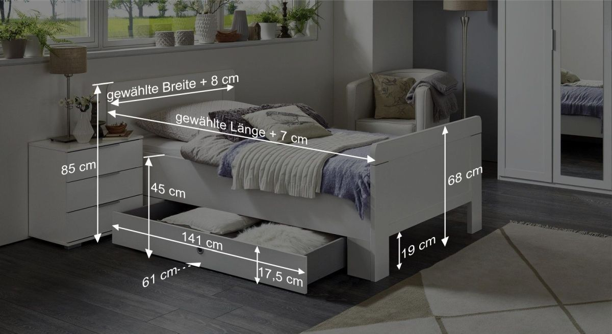 Schubkasten-Einzelbett Aradeos Bemaßungsgrafik