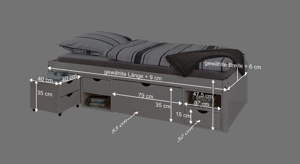 Bemaßungsgrafik zum Schubkasten Einzelbett Göteborg