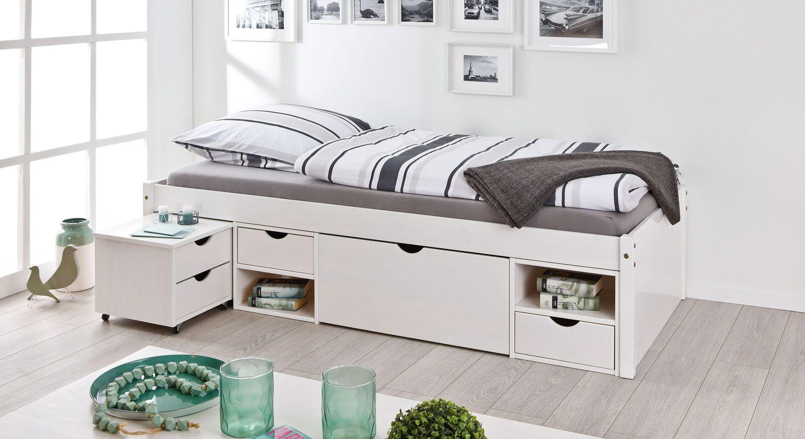 Modernes Schubkasten-Einzelbett Göteborg in Weiß