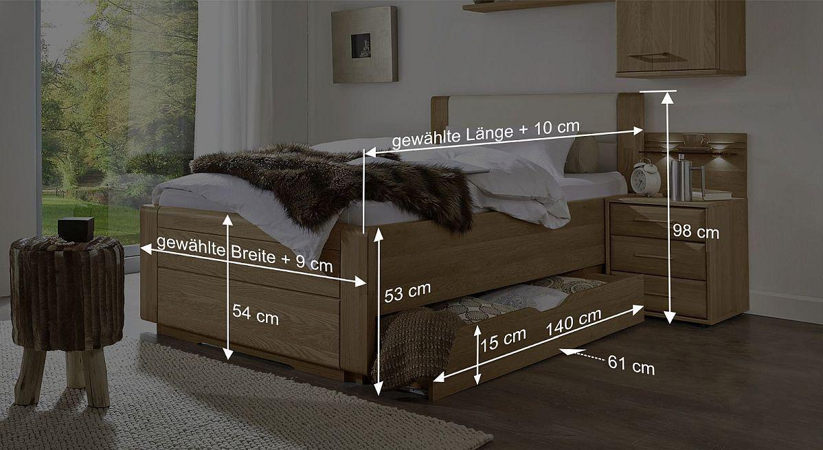 Schubkasten-Einzelbett Raidas Bemaßungsskizze